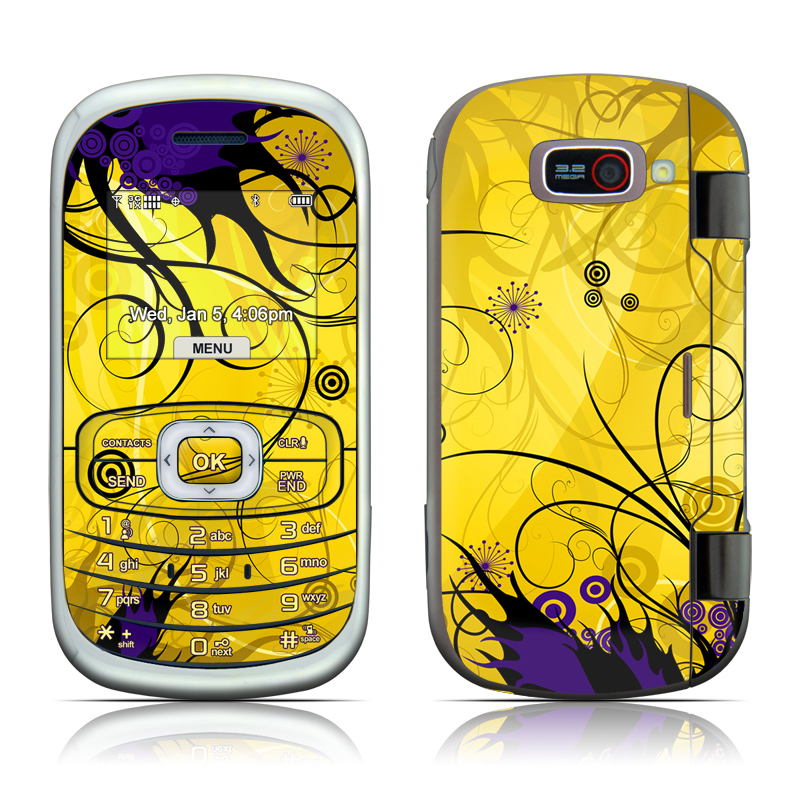 LG Octane VN530 Skin design of Yellow, Pattern, Floral design, Purple, Graphic design, Design, Wallpaper, Art, Illustration, Visual arts with orange, yellow, black, purple colors