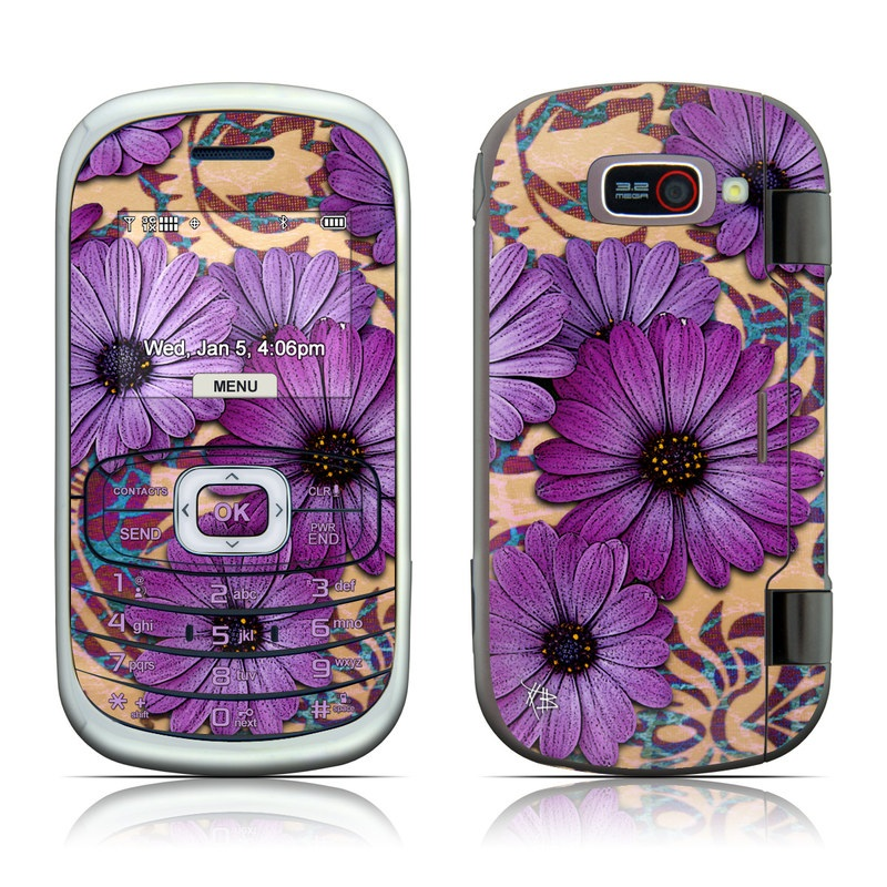 LG Octane VN530 Skin design of Purple, Flower, Violet, Petal, Plant, african daisy, Floral design, Wildflower, Pattern, Textile with purple, black, gray, blue, green, red colors