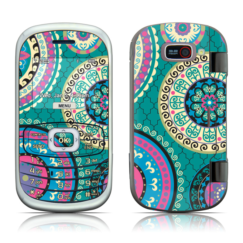 LG Octane VN530 Skin design of Pattern, Turquoise, Teal, Circle, Visual arts, Design, Textile, Motif, Psychedelic art, Paisley with blue, gray, black, purple, pink colors