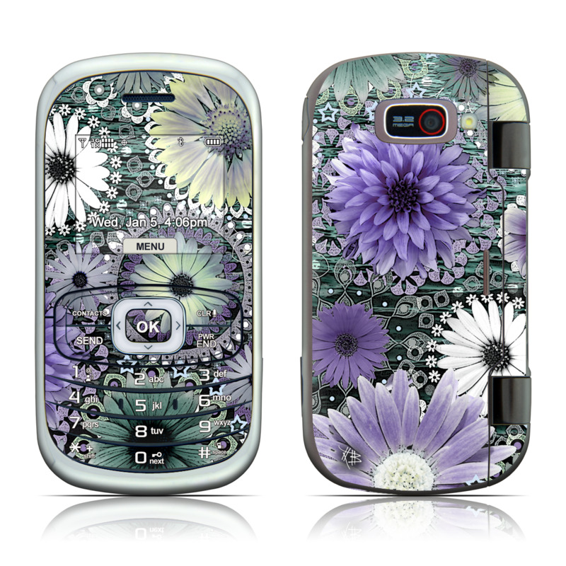 LG Octane VN530 Skin design of Purple, Flower, african daisy, Pericallis, Plant, Violet, Lavender, Botany, Petal, Pattern with gray, black, blue, purple, white colors