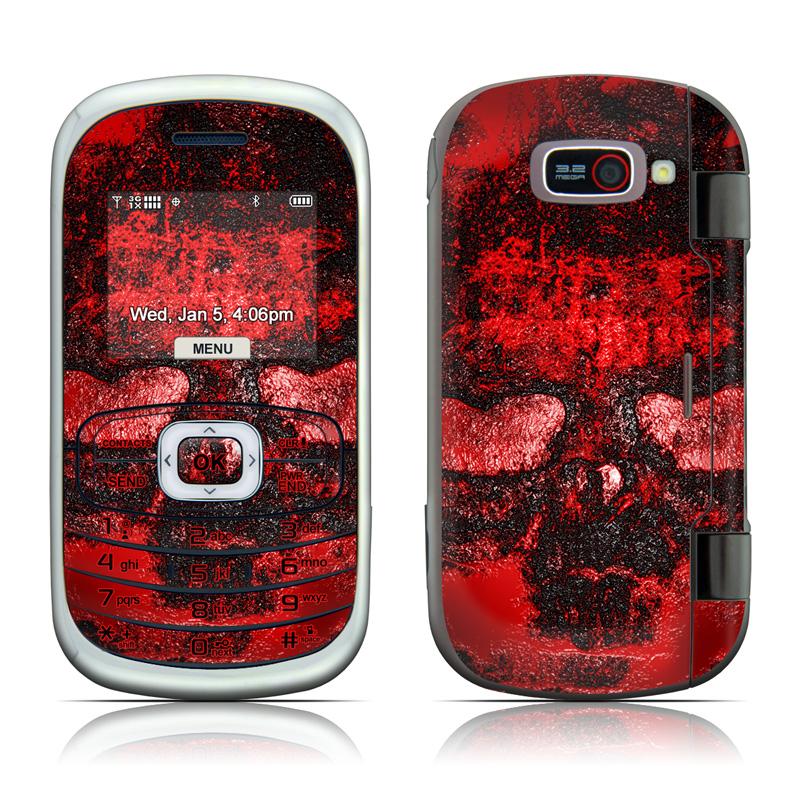 LG Octane VN530 Skin design of Red, Heart, Graphics, Pattern, Skull, Graphic design, Flesh, Visual arts, Art, Illustration with black, red colors