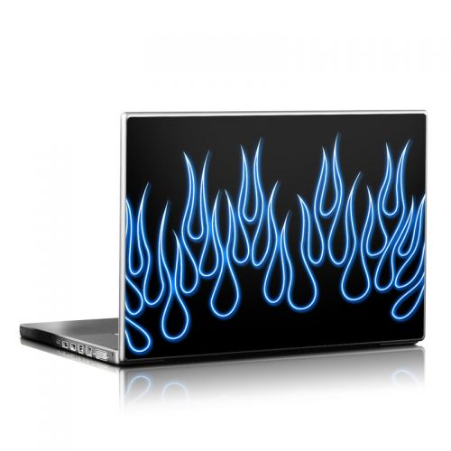 Blue Neon Flames Laptop Skin
