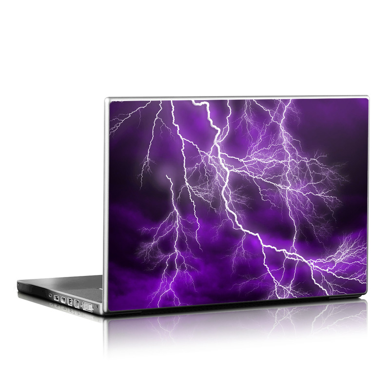 Laptop Skin design of Thunder, Lightning, Thunderstorm, Sky, Nature, Purple, Violet, Atmosphere, Storm, Electric blue with purple, black, white colors