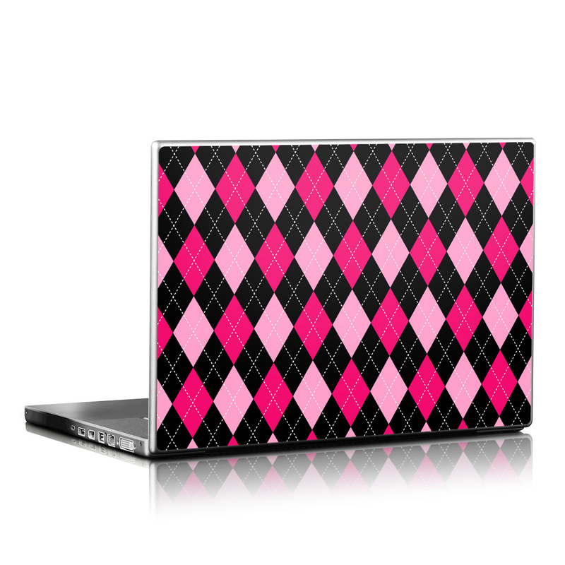 Laptop Skin design of Pattern, Pink, Magenta, Purple, Design, Line, Plaid, Material property, Square with black, pink colors