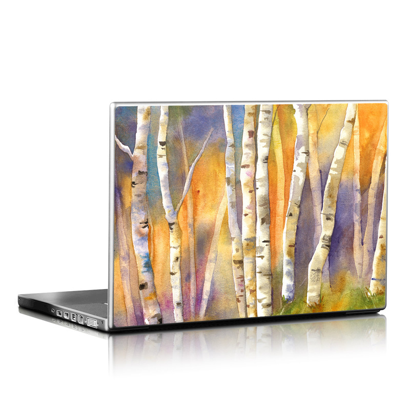 Laptop Skin design of Canoe birch, Watercolor paint, Tree, Birch, Woody plant, Painting, Plant, Birch family, Paint, Trunk with orange, yellow, green, white, purple, blue colors