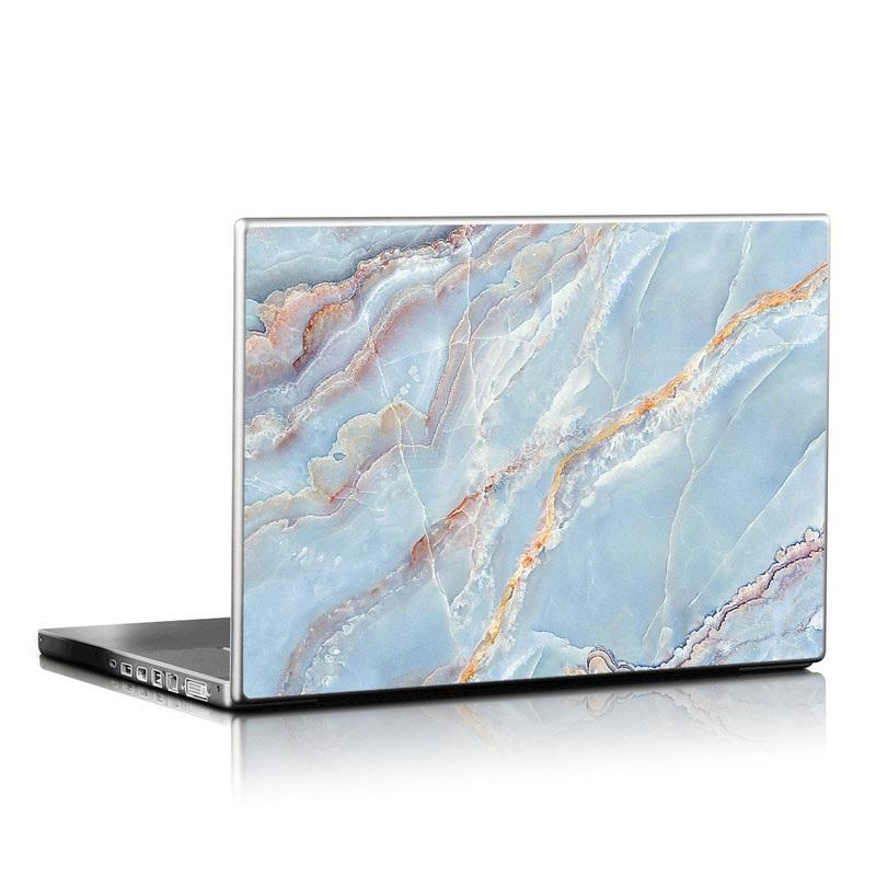 Laptop Skin design of Blue, Azure, Aqua, Onyx with blue, red, orange, white colors