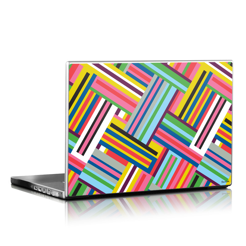 Laptop Skin design of Line, Pattern, Yellow, Textile, Design, Colorfulness, Parallel with blue, red, pink, yellow, gray, white, green, black colors