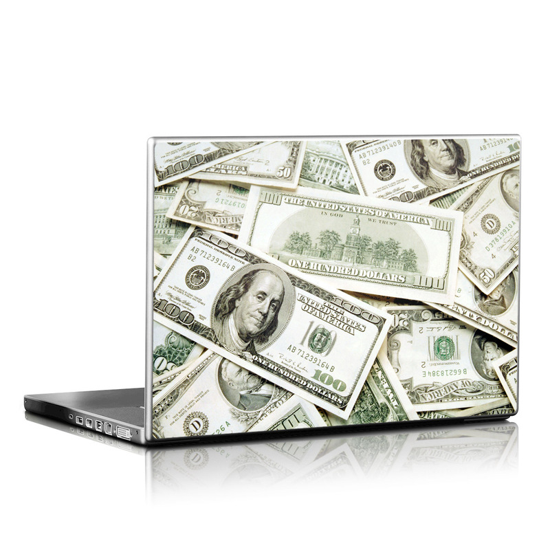 Laptop Skin design of Money, Cash, Currency, Banknote, Dollar, Saving, Money handling, Paper, Stock photography, Paper product with green, white, black, gray colors