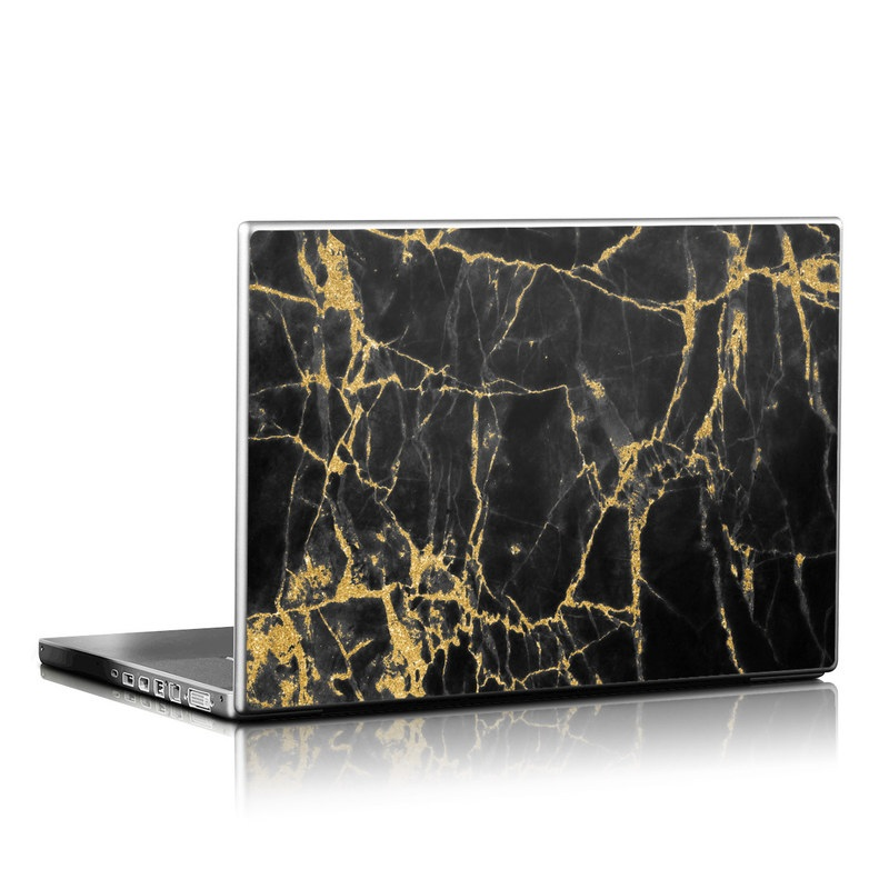 Laptop Skin design of Black, Yellow, Water, Brown, Branch, Leaf, Rock, Tree, Marble, Sky with black, yellow colors