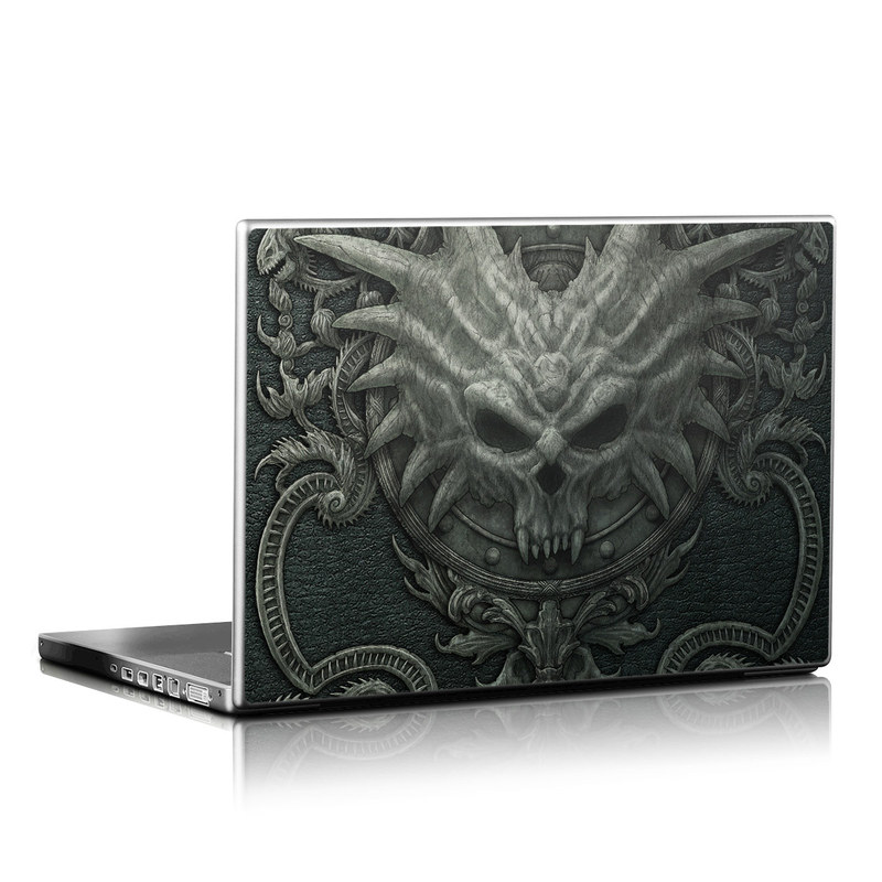 Laptop Skin design of Demon, Dragon, Fictional character, Illustration, Supernatural creature, Drawing, Symmetry, Art, Mythology, Mythical creature with black, gray colors