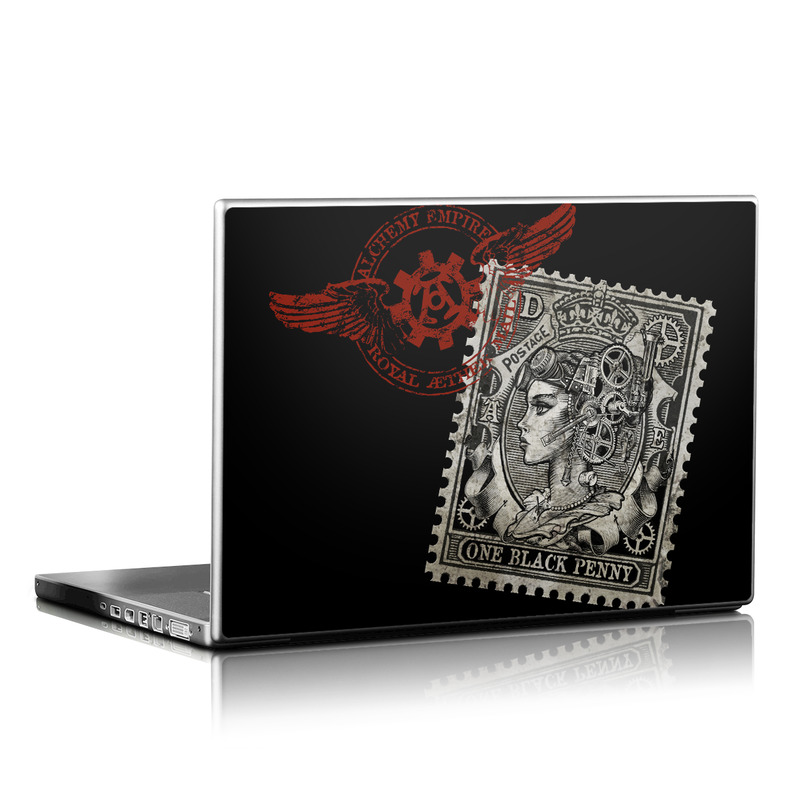 Laptop Skin design of Font, Postage stamp, Illustration, Drawing, Art with black, gray, red colors