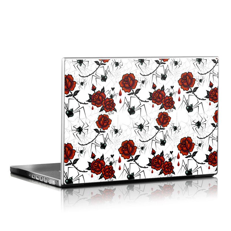 Laptop Skin design of Red, Pattern, Flower, Plant, Design, Floral design, Petal, Coquelicot, Wildflower, Rose with black, white, red colors