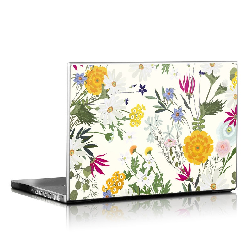 Laptop Skin design of Flower, Wildflower, chamomile, Floral design, Plant, camomile, Botany, Clip art, Cut flowers, Daisy with white, green, pink, orange, yellow, red colors