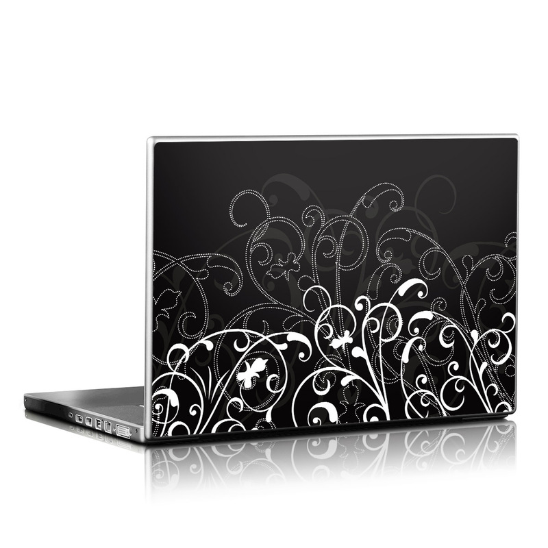 Laptop Skin design of Black, Pattern, Black-and-white, Monochrome photography, Design, Monochrome, Circle, Floral design, Font, Graphic design with black, white colors