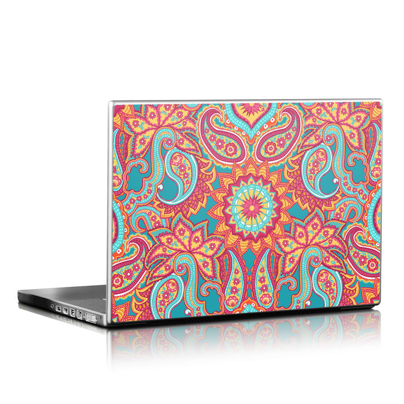 Laptop Skin design of Pattern, Paisley, Motif, Visual arts, Design, Art, Textile, Psychedelic art with orange, yellow, blue, red colors