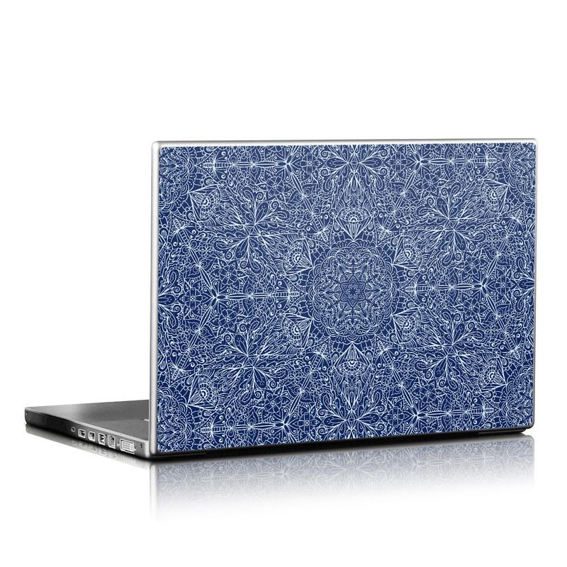 Laptop Skin design of Blue, Pattern, Azure, Cobalt blue, Design, Textile, Electric blue, Wallpaper, Symmetry with blue, white colors