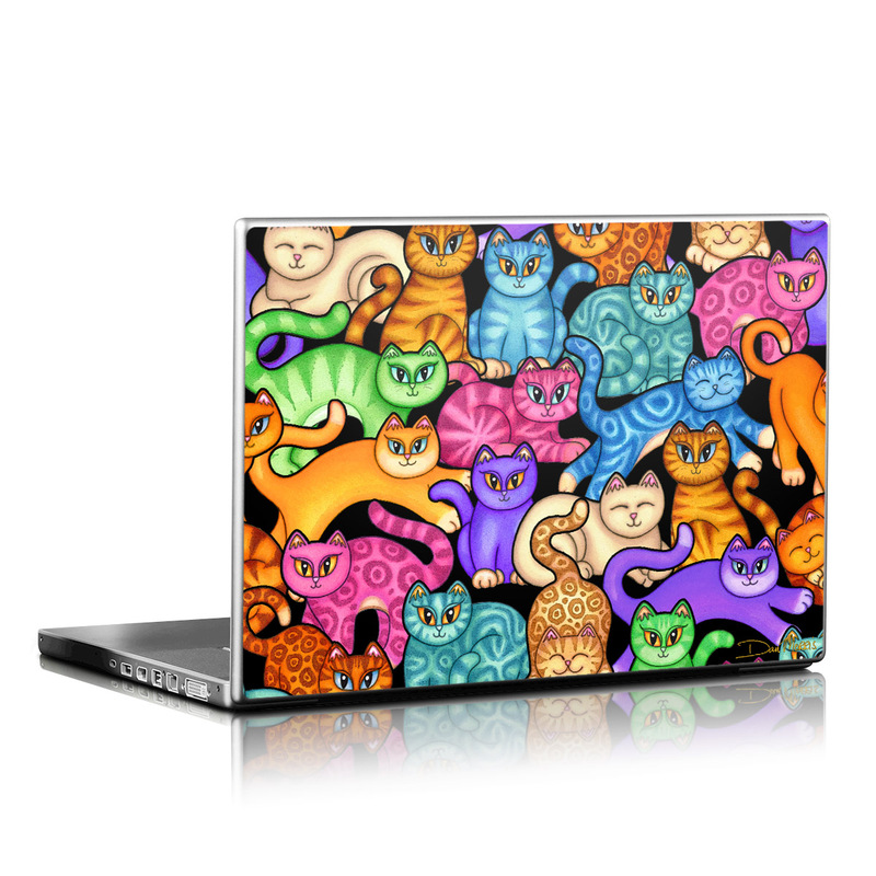 Laptop Skin design of Cat, Cartoon, Felidae, Organism, Small to medium-sized cats, Illustration, Animated cartoon, Wildlife, Kitten, Art with black, blue, red, purple, green, brown colors