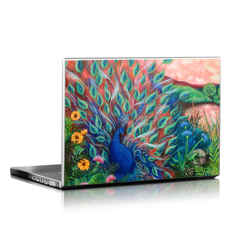 Laptop Skin design of Painting, Acrylic paint, Bird, Child art, Art, Galliformes, Peafowl, Visual arts, Watercolor paint, Plant with black, red, gray, blue, green colors