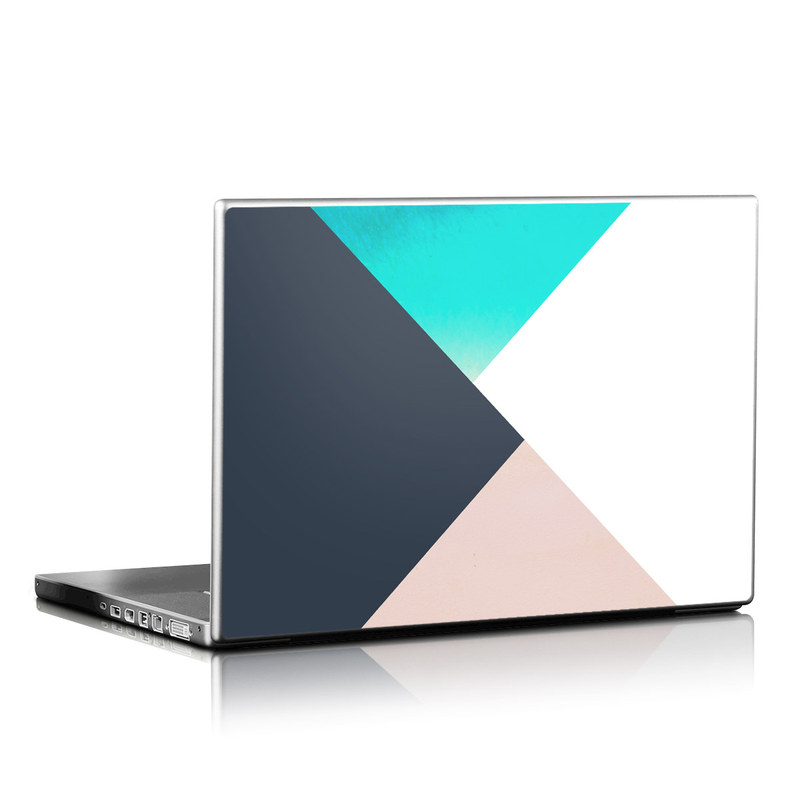 Laptop Skin design of Blue, Turquoise, Aqua, Line, Triangle, Design, Material property, Graphic design, Pattern, Architecture with black, white, brown, blue colors