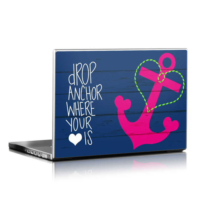 Laptop Skin design of Font, Text, Love, Heart, Illustration, Anchor, Graphic design, Gesture with black, purple, gray, red, blue, white colors