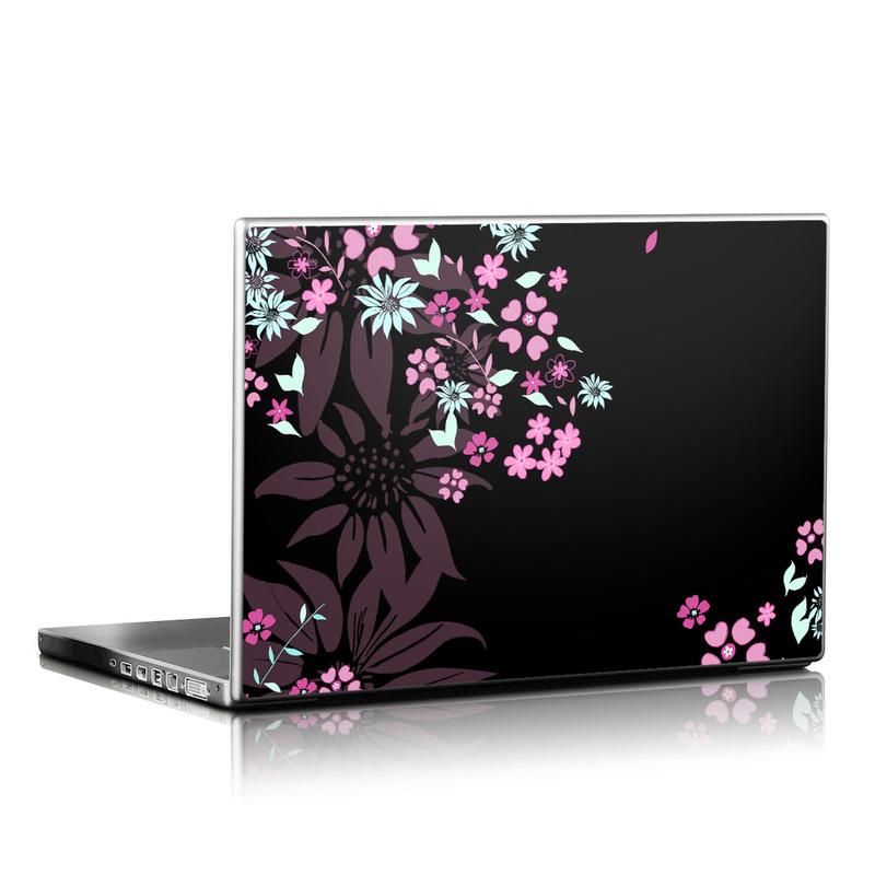 Laptop Skin design of Pink, Pattern, Flower, Plant, Botany, Petal, Floral design, Design, Pedicel, Graphic design with black, gray, purple, green, red, pink colors