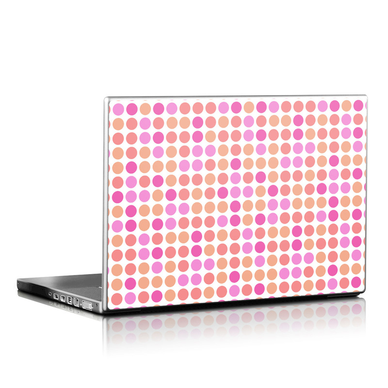 Peach Big Dots Laptop Skin