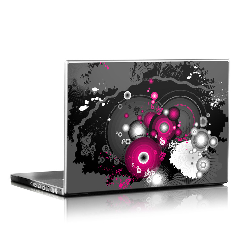 Laptop Skin design of Graphic design, Pink, Purple, Fractal art, Illustration, Circle, Graphics, Colorfulness, Magenta, Plant with black, gray, red, white colors
