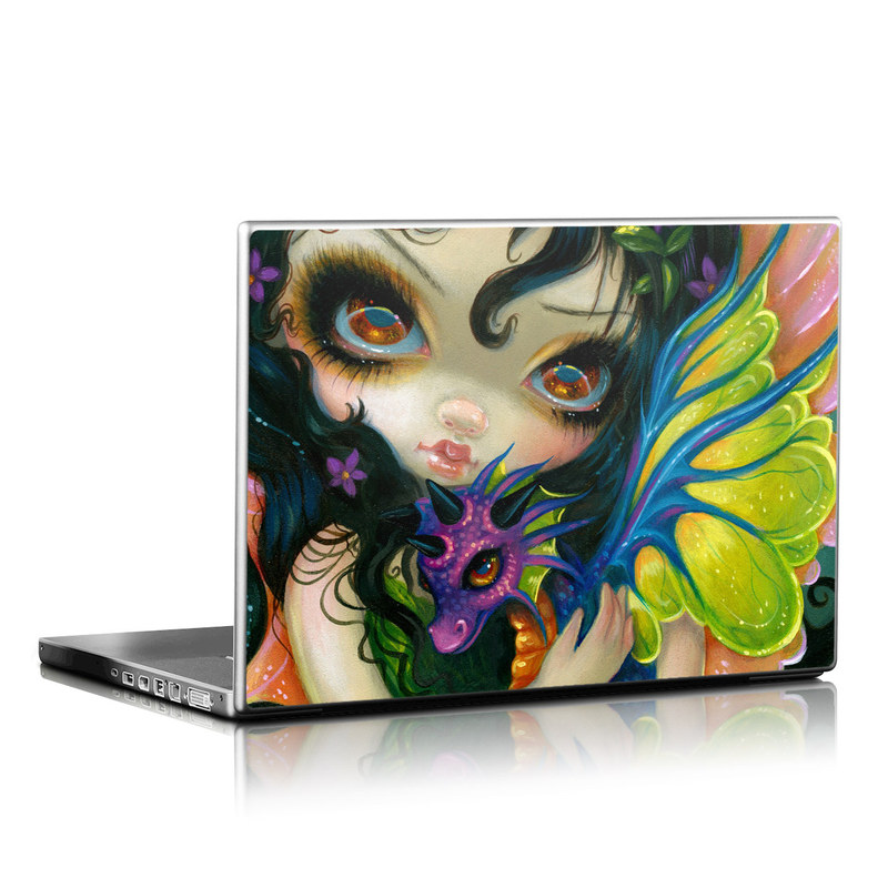 Laptop Skin design of Face, Head, Illustration, Art, Fictional character, Painting, Visual arts, Wing, Psychedelic art with black, green, gray, red, blue colors