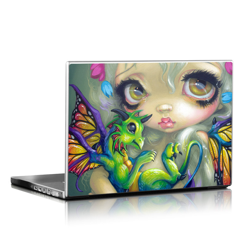 Laptop Skin design of Illustration, Art, Fictional character, Painting, Visual arts, Fawn, Ear, Drawing with gray, black, green, blue, red colors