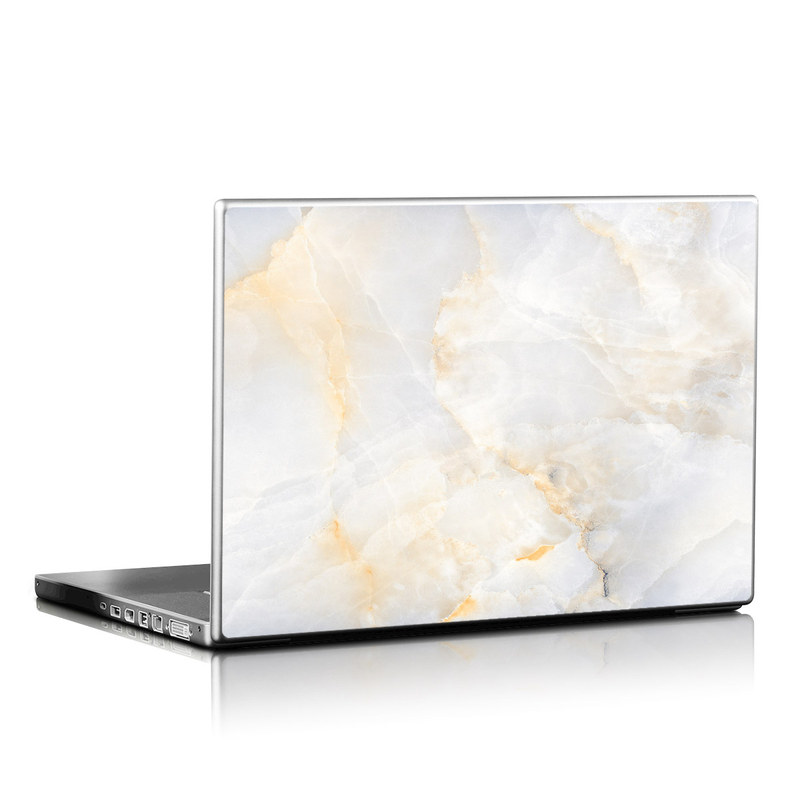 Laptop Skin design of White, Textile, Flooring, Marble, Paper, Pattern, Fashion accessory, Tile with white, orange, black, yellow colors