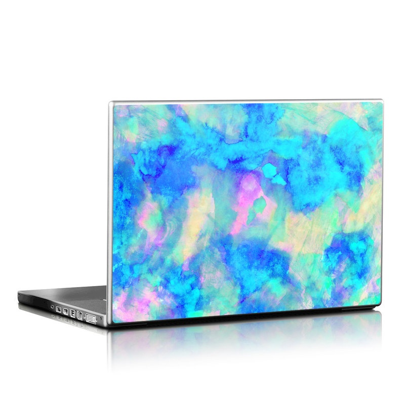 Laptop Skin design of Blue, Turquoise, Aqua, Pattern, Dye, Design, Sky, Electric blue, Art, Watercolor paint with blue, purple colors