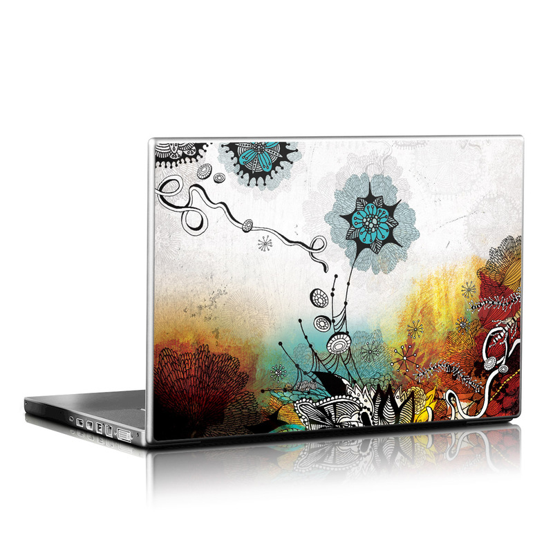 Laptop Skin design of Graphic design, Illustration, Art, Design, Visual arts, Floral design, Font, Graphics, Modern art, Painting with black, gray, red, green, blue colors