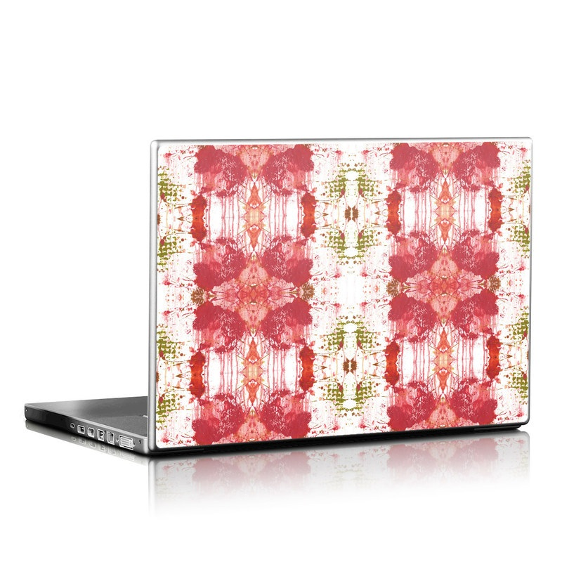 Laptop Skin design of Red, Pattern, Pink, Orange, Textile, Design, Symmetry, Wallpaper, Visual arts with gray, red, pink, white, green, yellow colors