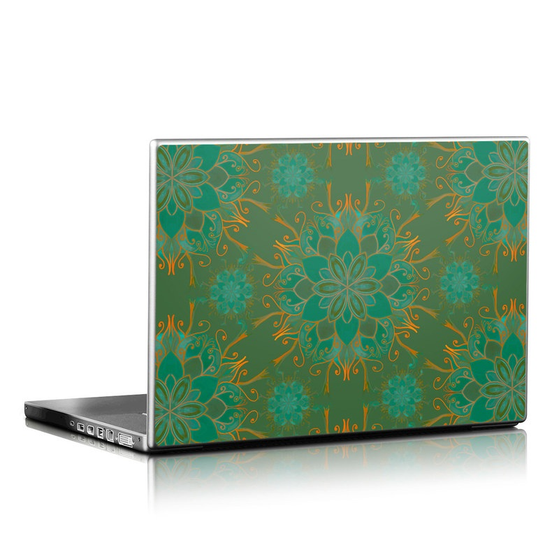 Laptop Skin design of Pattern, Green, Turquoise, Teal, Symmetry, Aqua, Design, Visual arts, Textile with green, orange, yellow colors