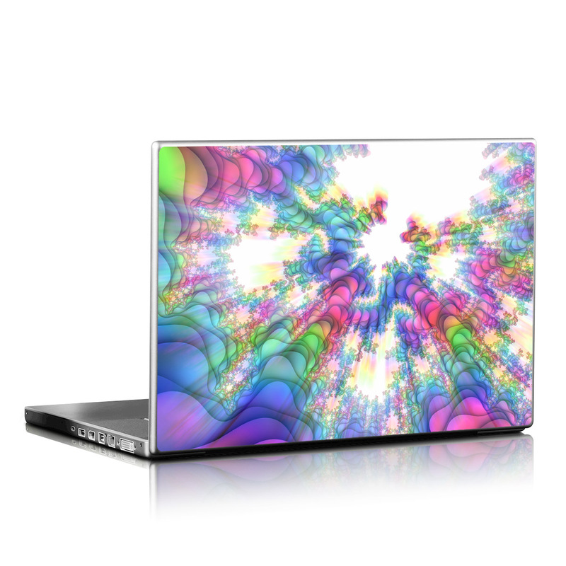 Laptop Skin design of Fractal art, Psychedelic art, Purple, Colorfulness, Art, Graphic design, Pattern, Graphics, Artwork, Symmetry with gray, white, blue, purple, pink colors