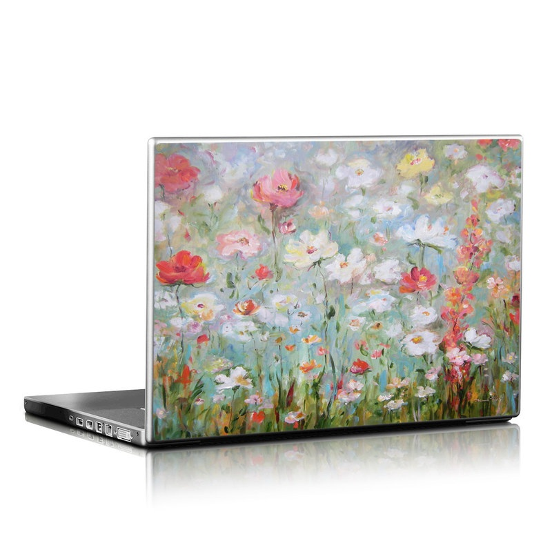 Laptop Skin design of Flower, Painting, Watercolor paint, Plant, Modern art, Wildflower, Botany, Meadow, Acrylic paint, Flowering plant with gray, black, green, red, blue colors