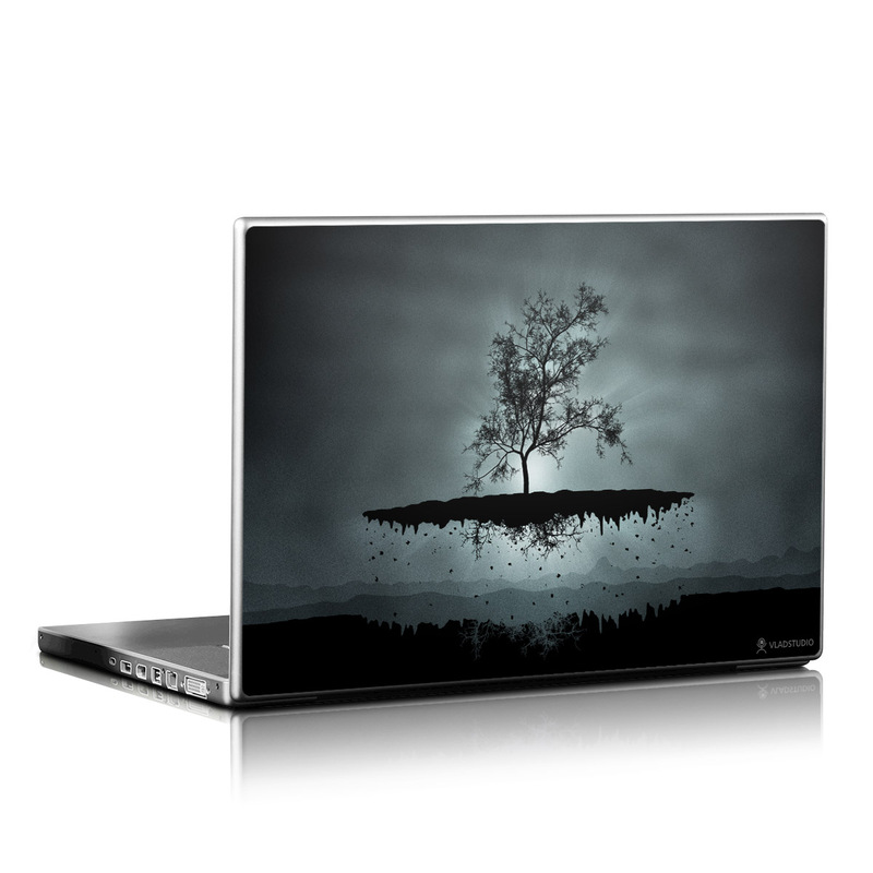 Laptop Skin design of Reflection, Sky, Nature, Water, Black, Tree, Black-and-white, Monochrome photography, Natural landscape, Atmospheric phenomenon with black, gray, blue colors