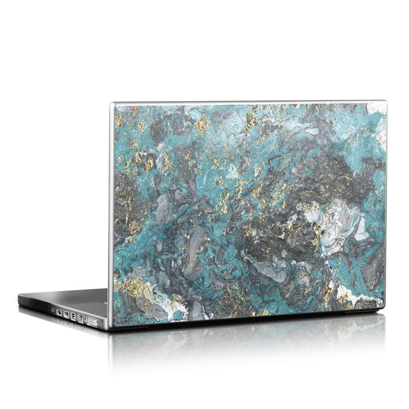 Laptop Skin design of Blue, Turquoise, Green, Aqua, Teal, Geology, Rock, Painting, Pattern with black, white, gray, green, blue colors