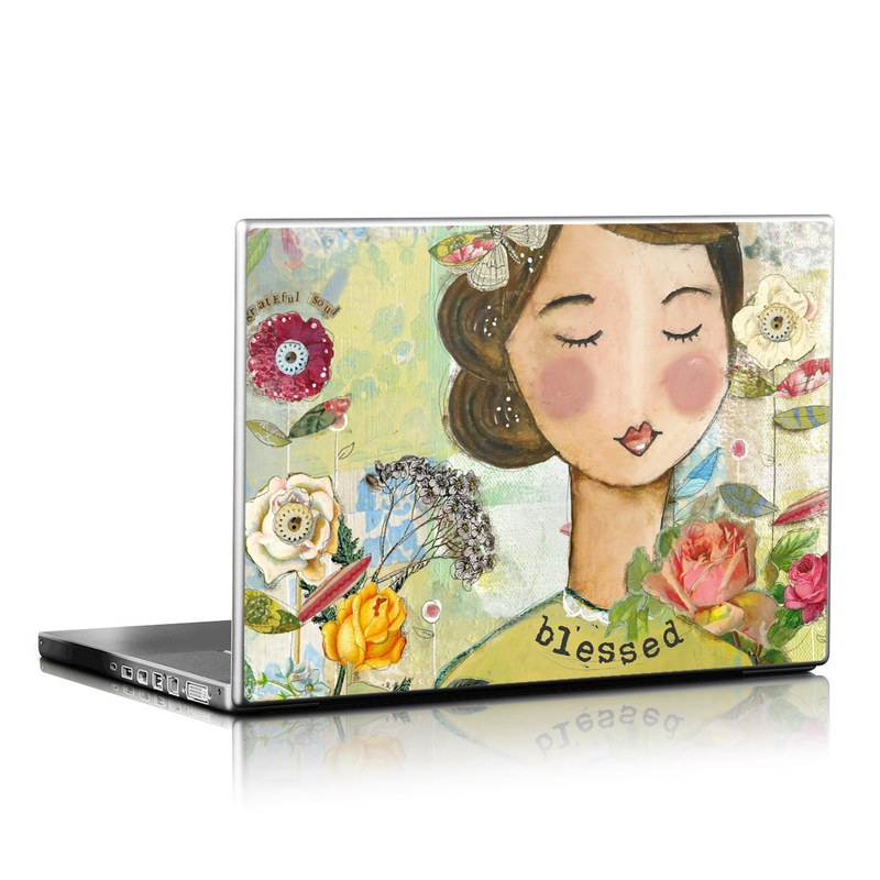 Laptop Skin design of Illustration, Cheek, Art, Watercolor paint, Retro style, Painting, Plant, Flower, Fashion illustration, Fictional character with pink, green, yellow, white, red, blue colors
