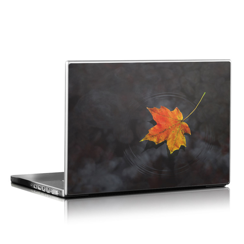 Laptop Skin design of Leaf, Maple leaf, Tree, Black maple, Sky, Yellow, Deciduous, Orange, Autumn, Red with black, red, green colors