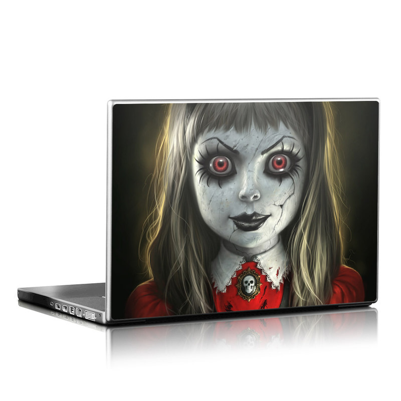 Laptop Skin design of Fiction, Illustration, Fictional character, Ghost, Darkness, Vampire, Goth subculture, Zombie, Art, Skull with white, red, black, yellow colors