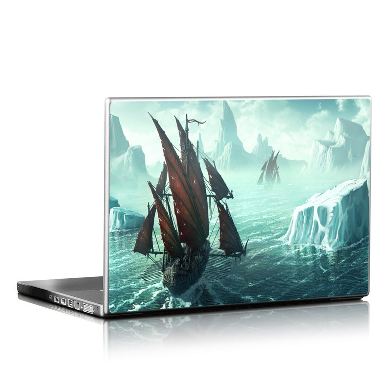 Laptop Skin design of Cg artwork, Vehicle, Ghost ship, Manila galleon, Fluyt, Adventure game, First-rate, Sailing ship, Mythology, Strategy video game with gray, black, blue, green, white colors