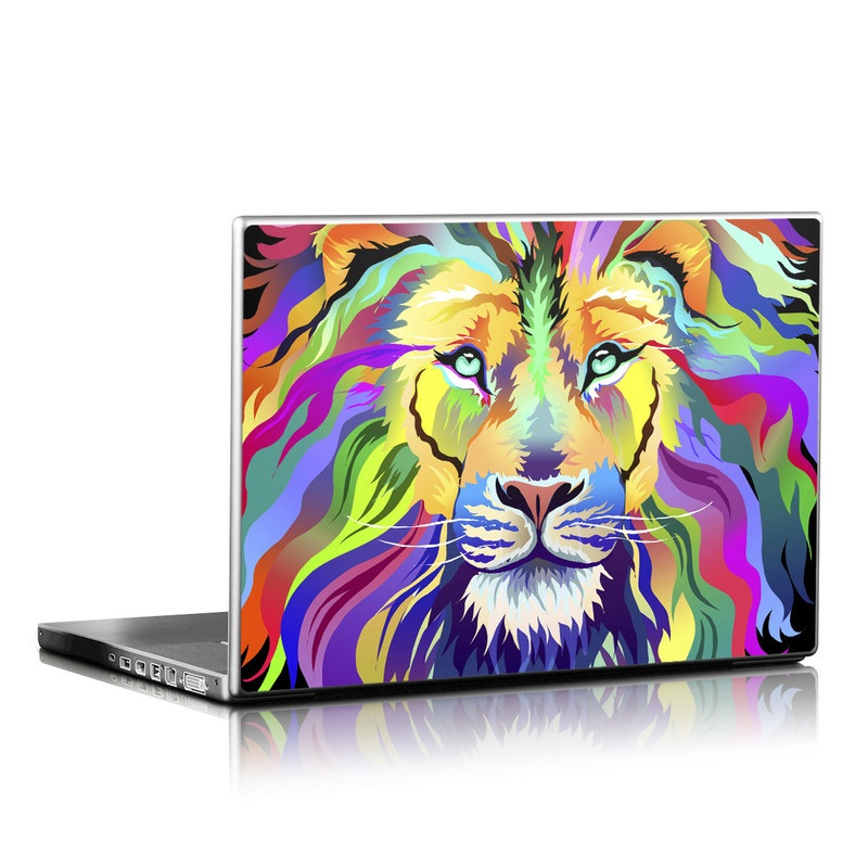 Laptop Skin design of Bengal tiger, Felidae, Lion, Wildlife, Big cats, Tiger, Carnivore, Art, Illustration, Painting with orange, yellow, green, red, pink, blue, purple colors