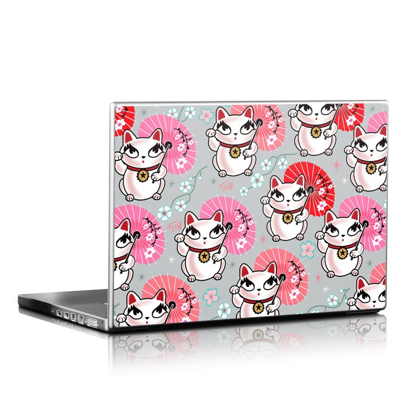 Laptop Skin design of Pink, Red, Cartoon, Design, Line, Textile, Pattern, Illustration, Smile, Fictional character with white, red, pink, gray, blue, black colors