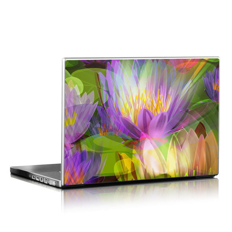 Laptop Skin design of Flowering plant, Flower, Petal, Violet, Aquatic plant, Purple, water lily, Plant, Botany, Close-up with gray, green, black, purple, red colors