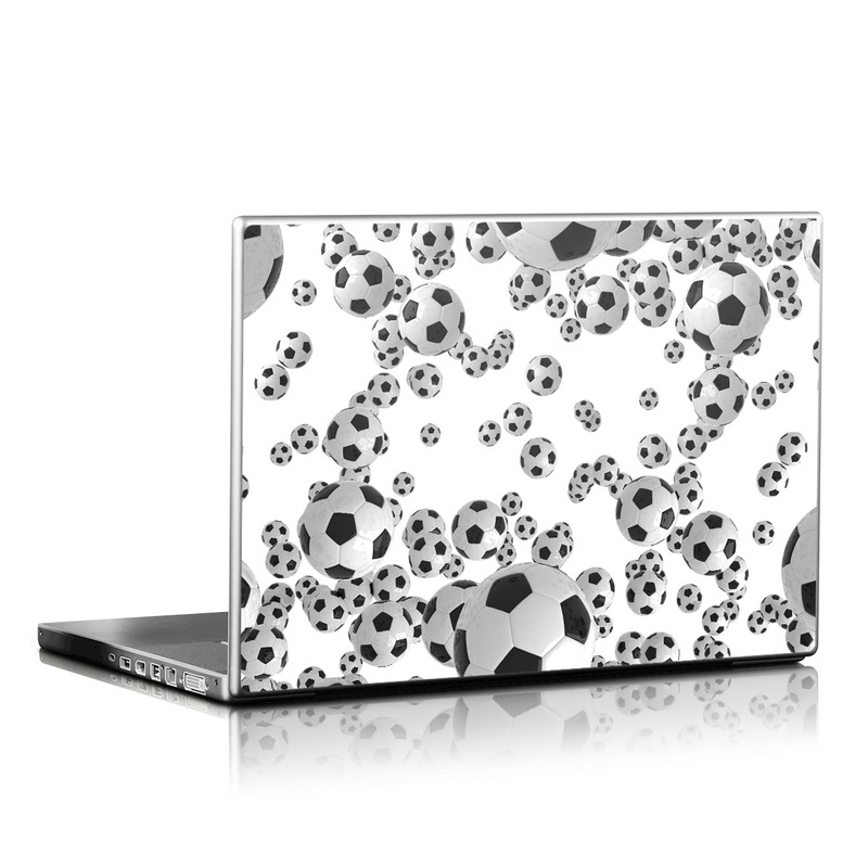 Laptop Skin design of White, Pattern, Football, Ball, Design, Black-and-white, Soccer ball, Monochrome, Paw, Games with gray, white, black colors