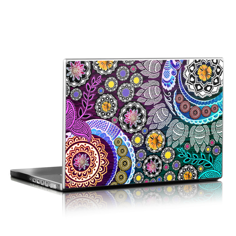 Laptop Skin design of Pattern, Psychedelic art, Art, Visual arts, Design, Floral design, Textile, Motif, Circle, Illustration with black, gray, purple, blue, green, red colors
