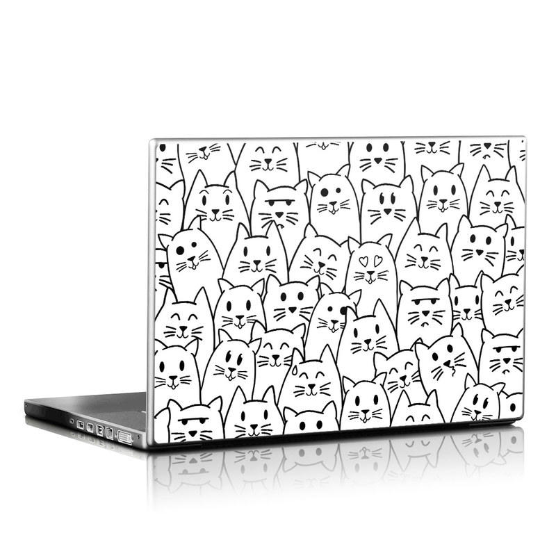 Laptop Skin design of White, Line art, Text, Black, Pattern, Black-and-white, Line, Design, Font, Organism with white, black colors