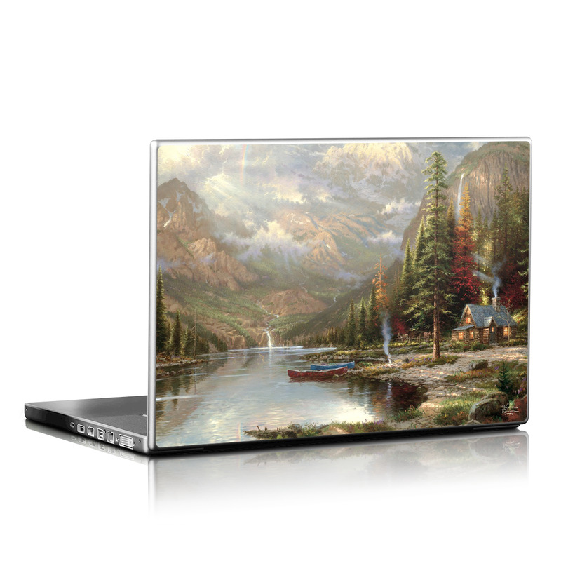 Laptop Skin design of Natural landscape, Nature, Painting, Tree, Landscape, Biome, Sky, Watercolor paint, Forest, Reflection with black, gray, green, red colors
