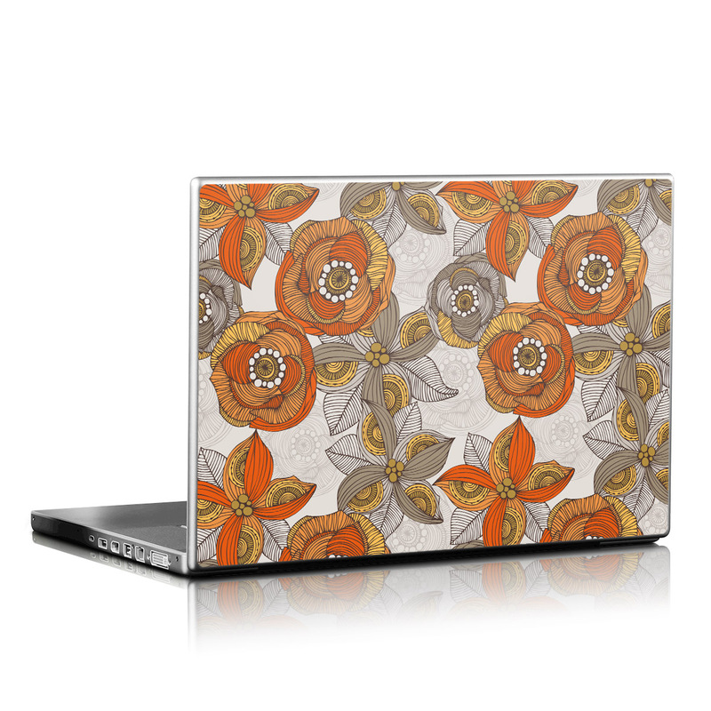 Orange and Grey Flowers Laptop Skin